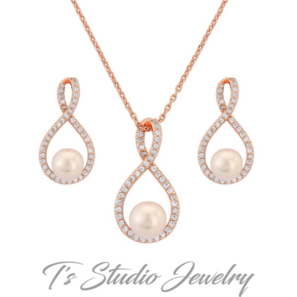 Bridesmaid Proposal White Pearl Infinity Necklace and Earring Set Bridesmaid Gift Jewelry Set Infinity Necklace Sterling Silver Infinity