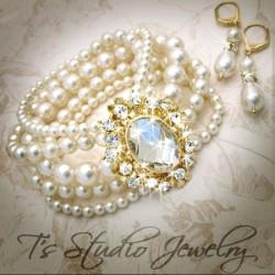 Gold Pearl Wedding Bracelet