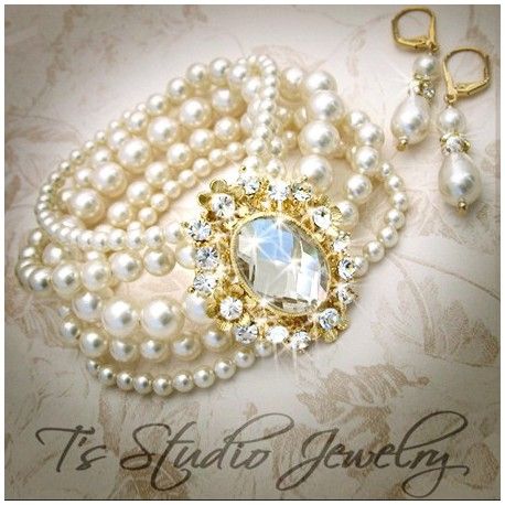 Gold Pearl Bridal Wedding Bracelet