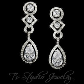 Teardrop CZ Crystal Bridal Chandelier Earrings