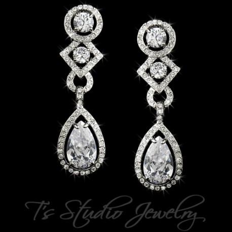 Teardrop CZ Crystal Bridal Chandelier Bridal Earrings