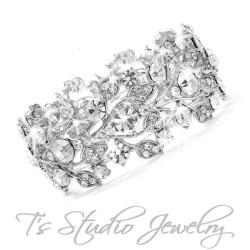 Crystal Rhinestone Silver Bridal Bracelet