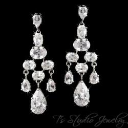 CZ Bridal Chandelier Earrings with Pear Drop