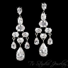 CZ Bridal Chandelier Earrings with Pear Drop