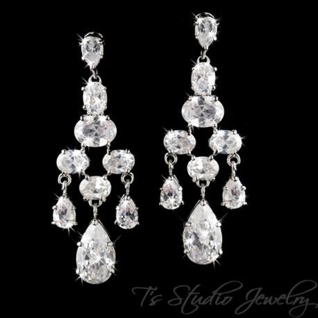 CZ Bridal Chandelier Earrings