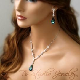 Something Blue CZ Necklace Earring Set