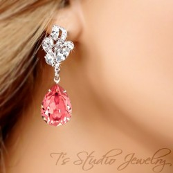 Rose Peach Crystal Pear Cut Earrings