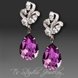 Amethyst Purple Pear Cut Earrings