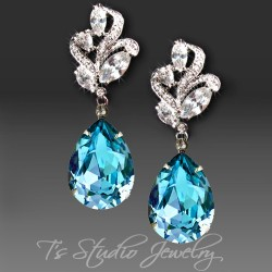 Aquamarine Pear Cut Earrings