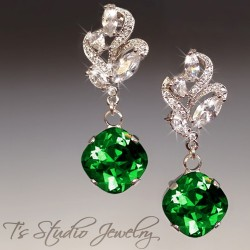 Emerald Green Cushion Cut Earrings