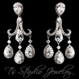Pear Shaped CZ Bridal Chandelier Earrings