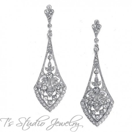 CZ Art Deco Style Bridal Earrings