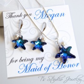 Blue Crystal Starfish Bridesmaid Necklace Earrings Set