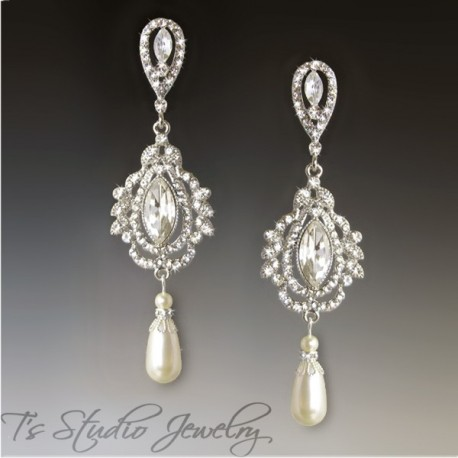 Pearl and marquise bridal chandelier earrings - Savannah