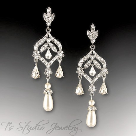 Long Teardrop Pearl Chandelier Bridal Earrings - Silver and Crystal Earings with white ivory or champagne pearls