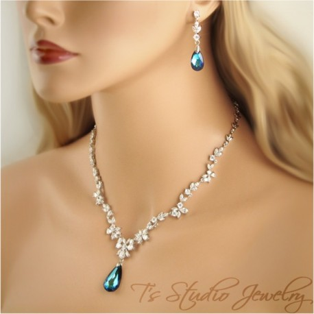 CZ Something Blue Crystal Necklace Earring Set