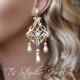 Teardrop Pearl and Rhinestone Gold Bridal Chandelier Earrings