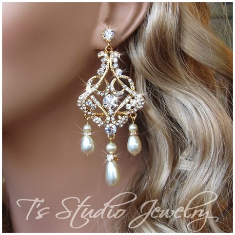 Teardrop Pearl and Rhinestone Gold Bridal Chandelier Earrings