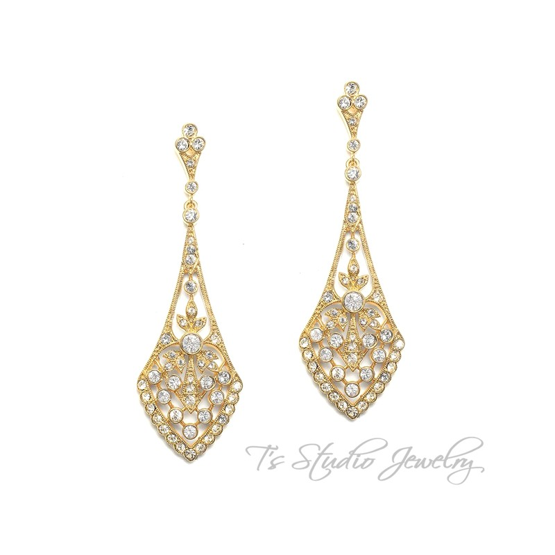 Cz Art Deco Style Bridal Earrings Silver Or Gold
