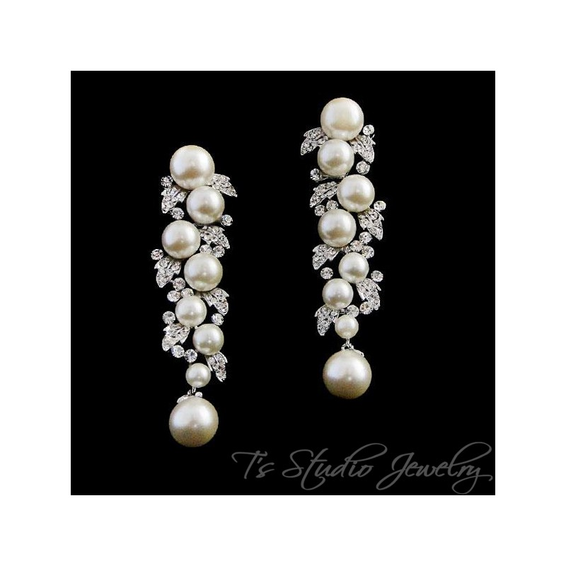 dc78608384eae3 ... Leafy pearl & rhinestone crystal chandelier bridal earrings - BELLA ...