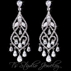 CZ Crystal Pave Bridal Chandelier Earrings