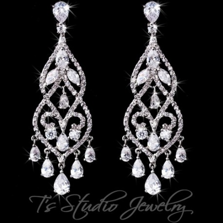 CZ Crystal Pave Bridal Chandelier Earrings Pear Cubic Zirconia
