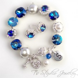 Royal Bermuda Blue Crystal and Pearl Bracelet