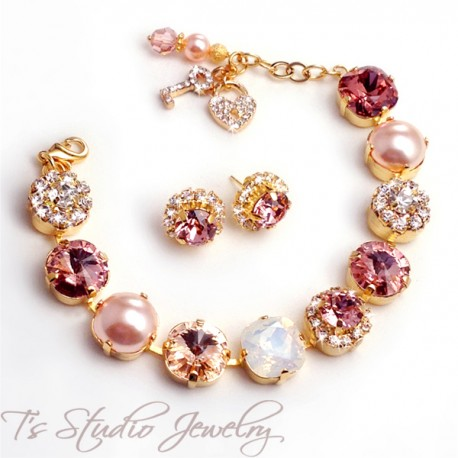 Blush Peach Pink Silk Gold Metallic Bracelet- 12mm