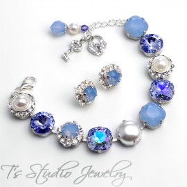 Periwinkle Ice Blue Opal Pearl and Crystal Bracelet