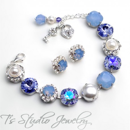 Periwinkle Ice Blue Opal Bracelet - 12mm
