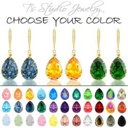 Gold Teardrop Crystal Bridesmaid Earrings