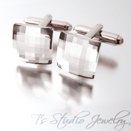 Swarovski Crystal Square Chessboard Cufflinks - Clear Silver