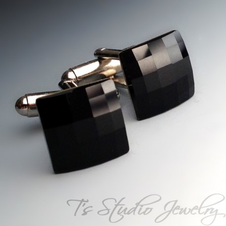 Black Crystal Cufflinks Cuff Links Groom Best Man