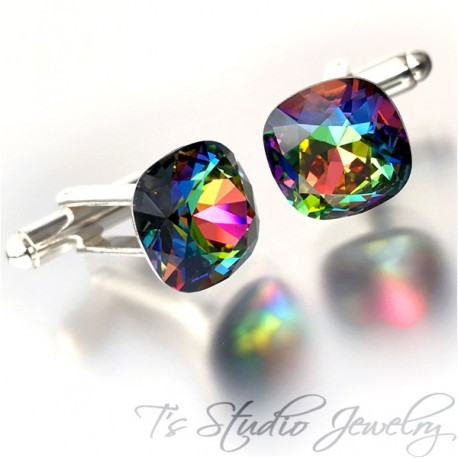 Rainbow Cushion Cut Swarovski Crystal Cufflinks Best Man Groomsman Gift