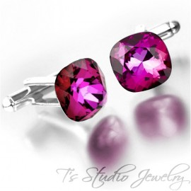Jewel Tone Rose Pink Cushion Cut Crystal Cufflinks