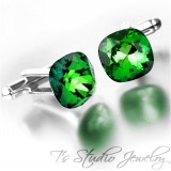 Green Cushion Cut Swarovski Crystal Cufflinks