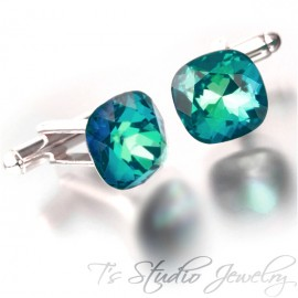 Peacock Blue Green Cushion Cut Swarovski Crystal Cufflinks Best Man Groomsman Gift