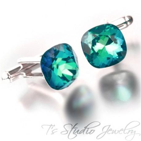 Jewel Tone Peacock Blue Green Cushion Cut Swarovski Crystal Cufflinks Best Man Groomsman Gift