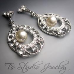 Silver Crystal Hoop Chandelier Earrings