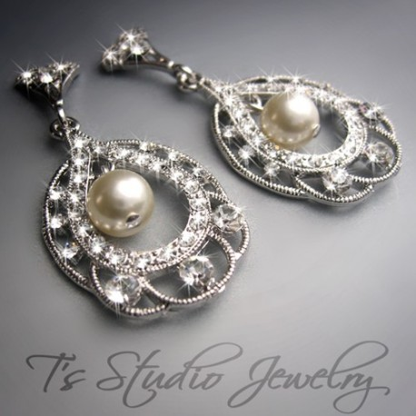 Small Silver and Crystal Hoop Chandelier Earrings Swarovski crystal