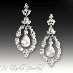 Silver Hoop CZ Crystal Wedding Earrings