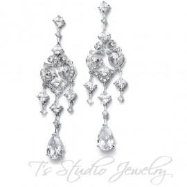 Vintage Inspired CZ Bridal Chandelier Earrings
