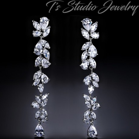 Long CZ Earrings - Cubic Zirconia Shoulder Duster Bridal Earings