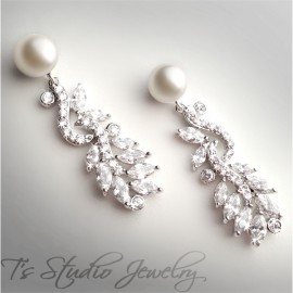 Silver Pave CZ Crystal Pearl Bridal Earrings