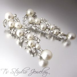 Long Pearl & Rhinestone Wedding Earrings