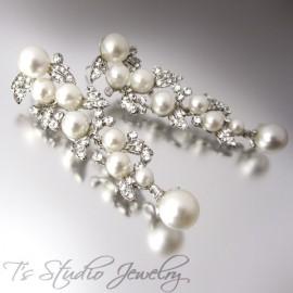 Long Pearl & Rhinestone Wedding Earrings