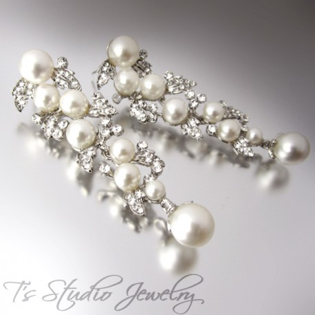 Leafy pearl & rhinestone crystal chandelier bridal earrings - BELLA