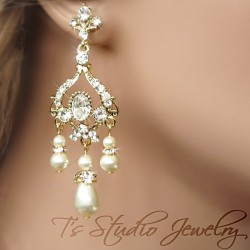 Gold Bridal Earrings with Teardrop Pearls
