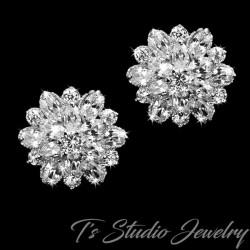 Cubic Zirconia Crystal Flower Stud Earrings