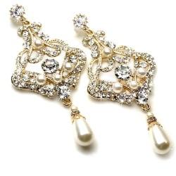 Gold Pearl Bridal Chandelier Earrings